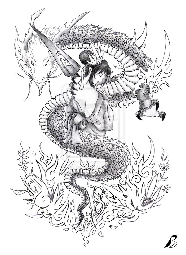 Dragon n Geisha Tattoo Stencil