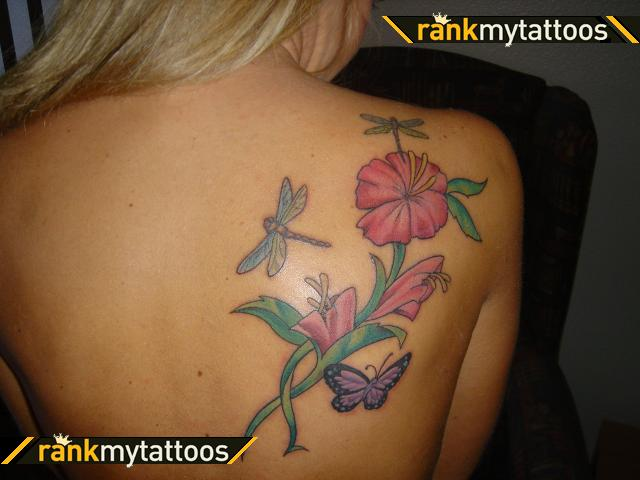 Dragonfly Butterfly Hibiscus Tattoo Design On Back