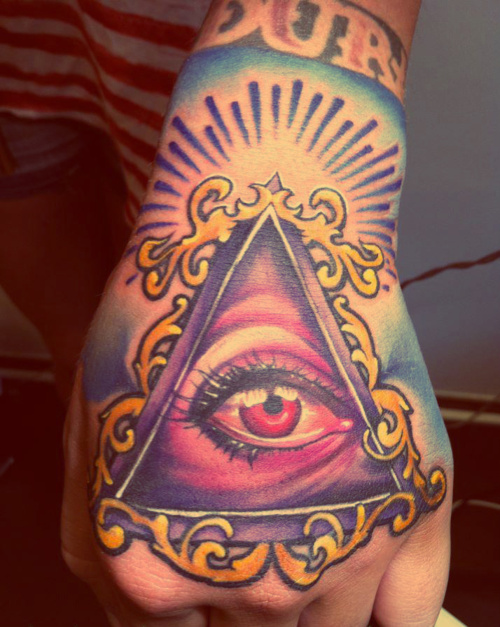 Eye Triangle Hand Tattoo