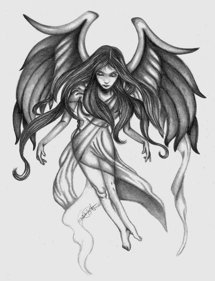 Fabulous Angel Girl Tattoo Design