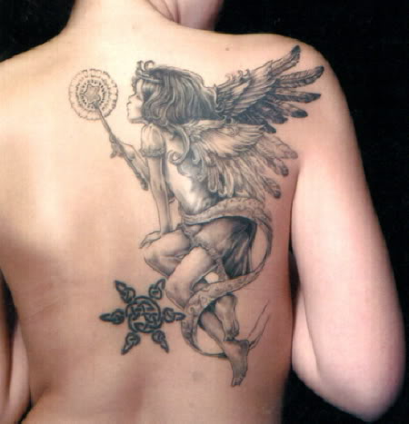 Fabulous Playing Angel Girl Tattoo