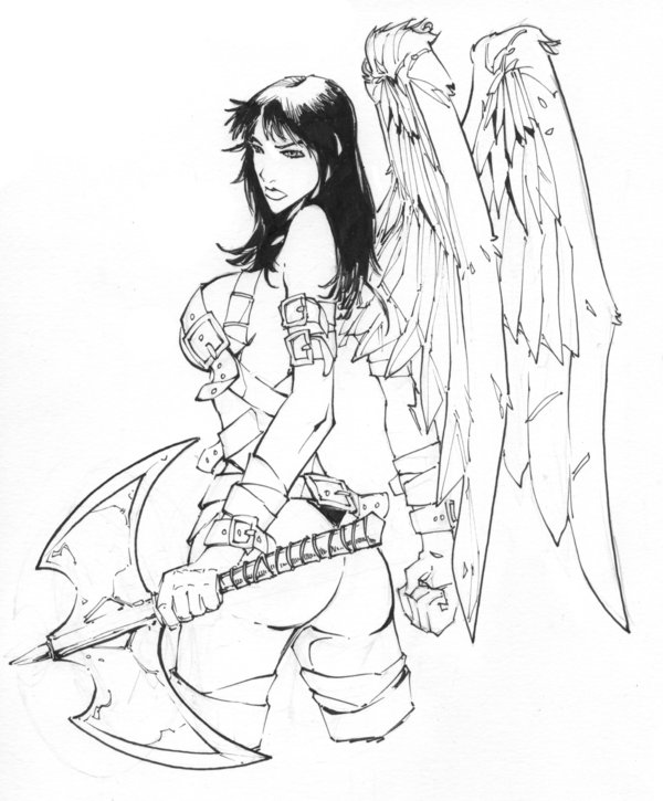 Fabulous Warrior Angel Girl Tattoo Design