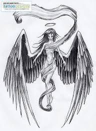 Fabulous Winged Angel Girl Tattoo Design