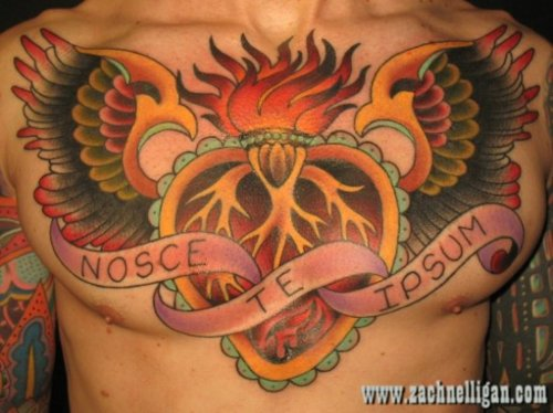 Fire Heart Tattoo On Chest For Men