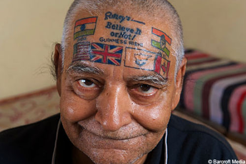 Flags Tattoo On Forehead