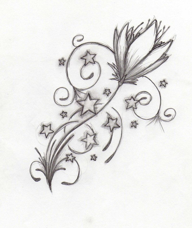 Flower n Stars Tattoo Drawing