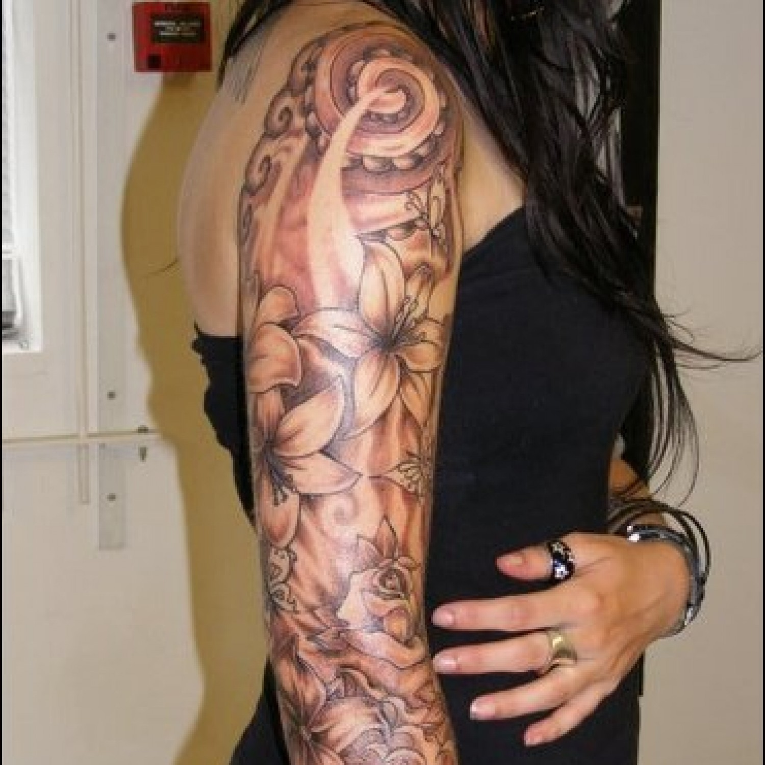 Flowers Tattoo Sleeve For Girls