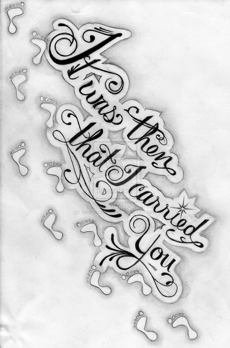 Footprints Tattoo Design For Rib Side