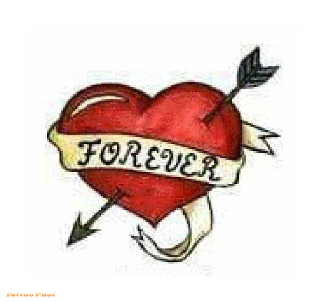 Forever Arrow Heart Tattoo Design
