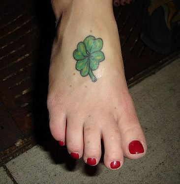 Four Leaf Clover Foot Tattoo