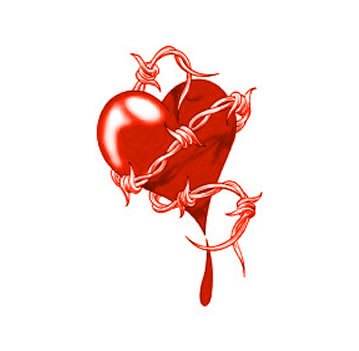 Free Barb Wire Heart Tattoo Design
