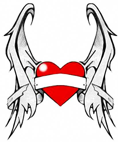 Free Heart Wings Tattoo Design