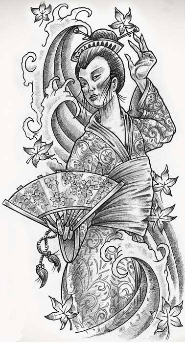 Free geisha tattoo flash