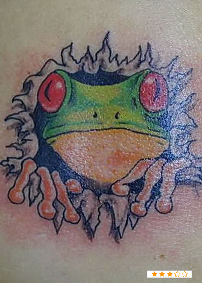 Frog Coming Out Of Skin Tattoo Design