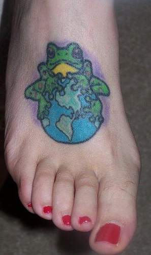 Frog n Globe Tattoo Design On Foot