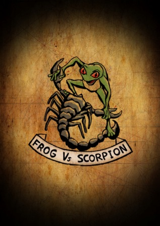 Frog Vs Scorpion Color Tattoo Design