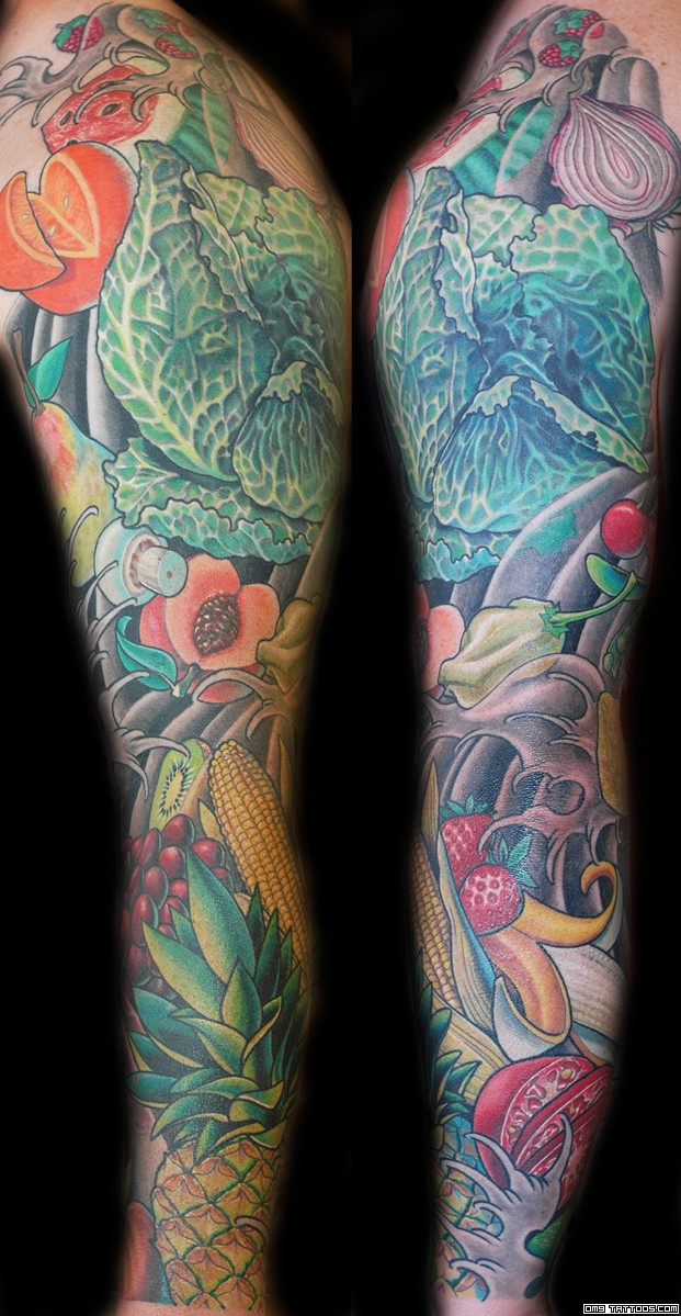 Fruits n Veggies Tattoo On Sleeve