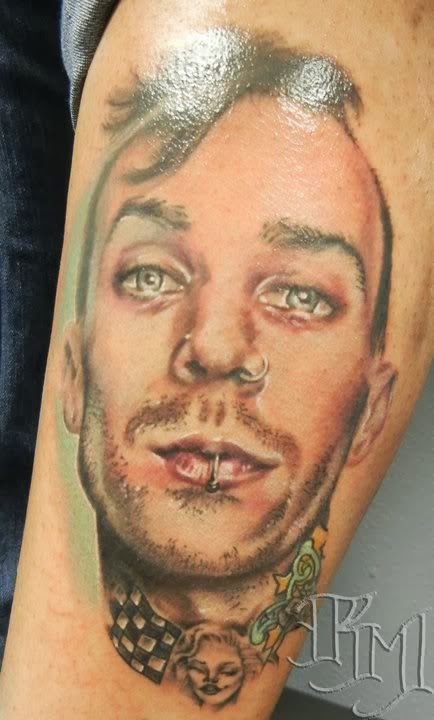 Funky Guy Face Portrait Tattoo Design