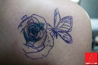 Funky Rose n Butterfly Tattoo On Back