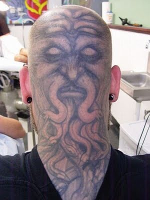Funny Bald Head Tattoo Design