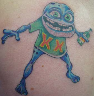 Funny Cartoon Frog Tattoo Design