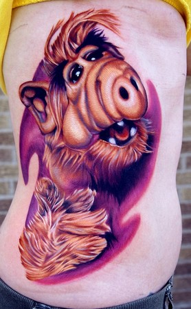 Funny Cartoon Tattoo On Ribs