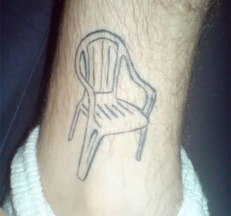Funny Chair Tattoo On Ankle