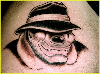 Funny Clown With Hat Tattoo Design