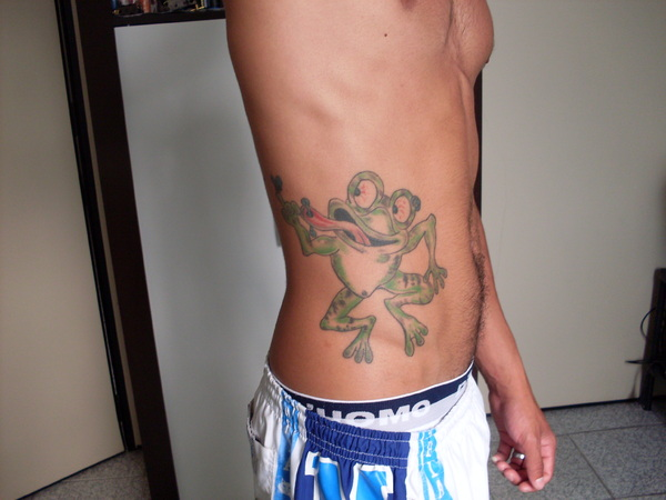 Funny Frog Tattoo On Waist