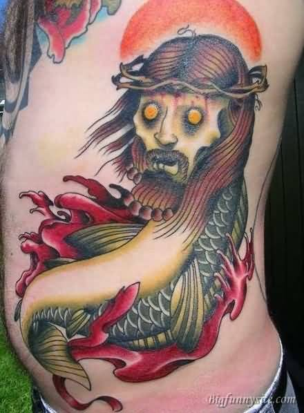 Funny Jesus Fish Tattoo On Ribs
