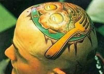 Funny Omelette Tattoo On Scalp