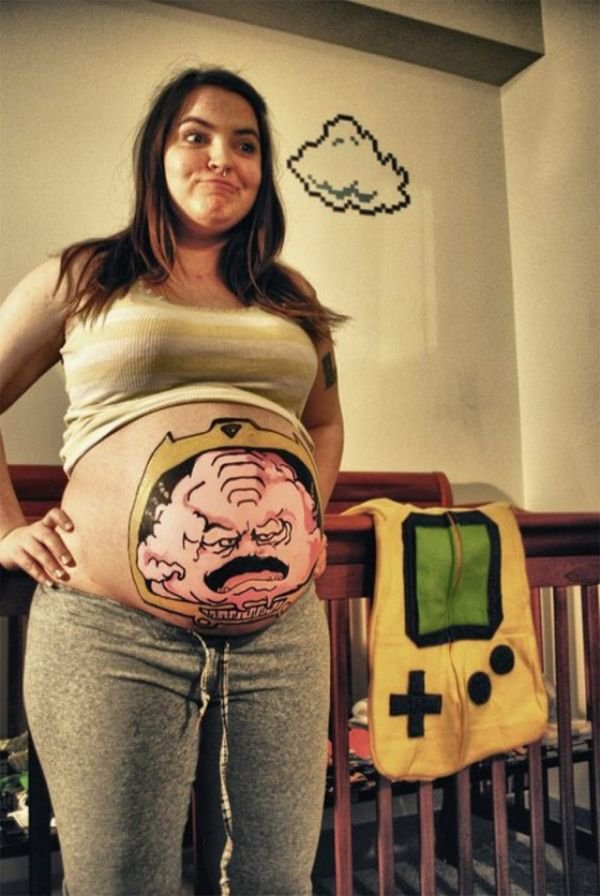 Funny Pregnant Belly Button Tattoo