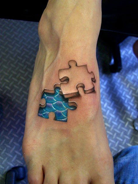 Funny Puzzle Tattoo Design On Right Foot