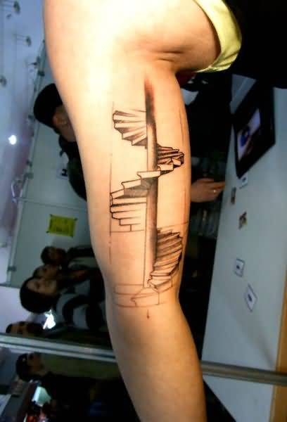 Funny Stairs Tattoo On Biceps