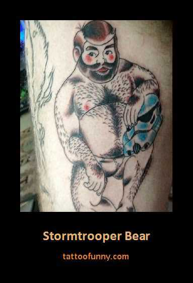Funny Stormtrooper Bear Tattoo Design