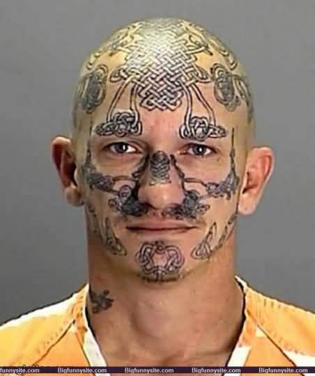 Funny Tattoo On Face Of Guy