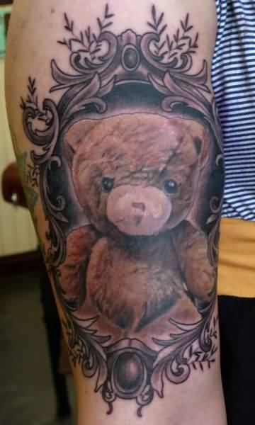 Funny Teddy Bear Tattoo On Leg