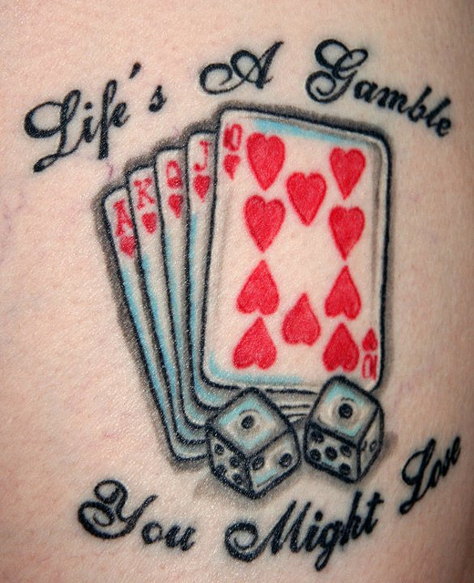 Gambling Cards n Dice Tattoo Design