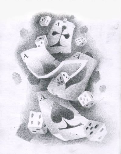 Gambling Cards n Dice Tattoo Drawing