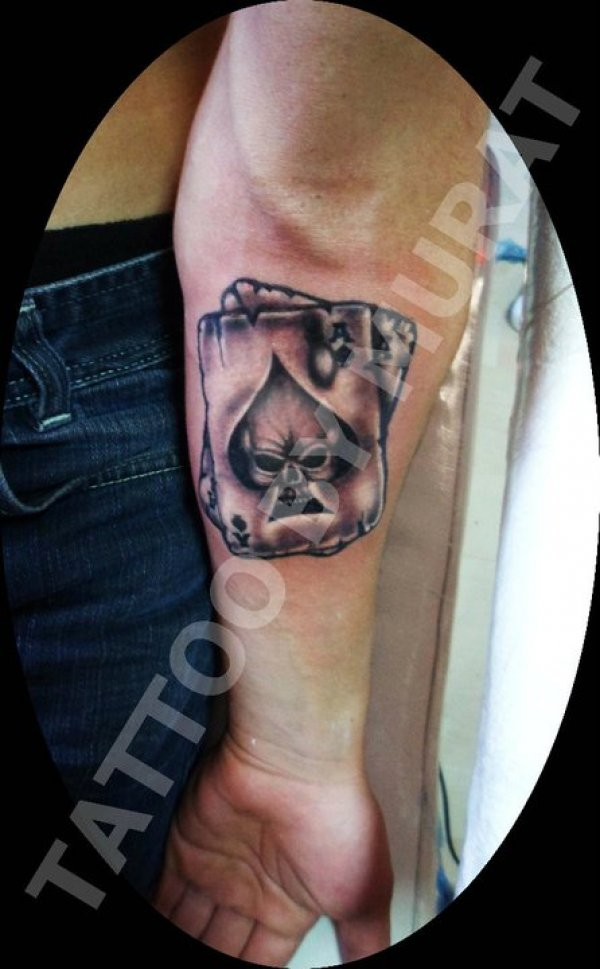 Gambling Cards Tattoo On Arm