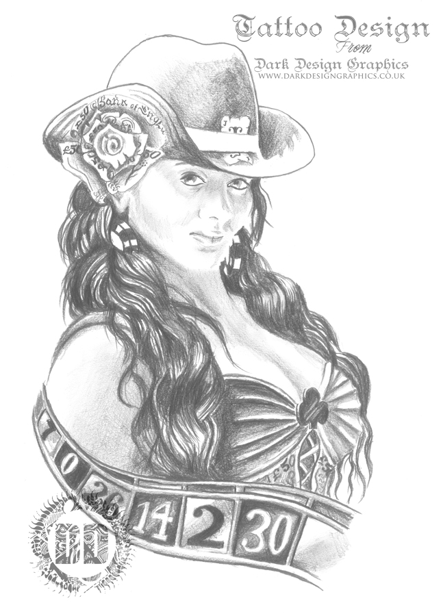 Gambling Girl Pencil Sketch