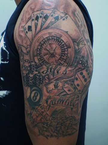 Gambling Tattoo Designs On Left Arm