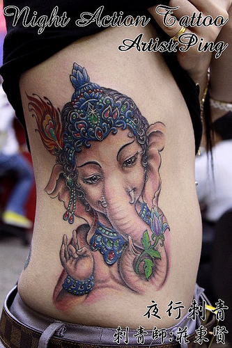 Ganesha Hindu Tattoo On Ribs
