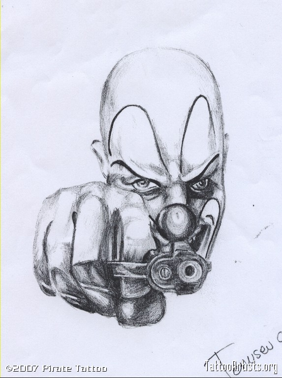 Gangsta Drawings With Guns Gangsta Clown Tattoo Drawing