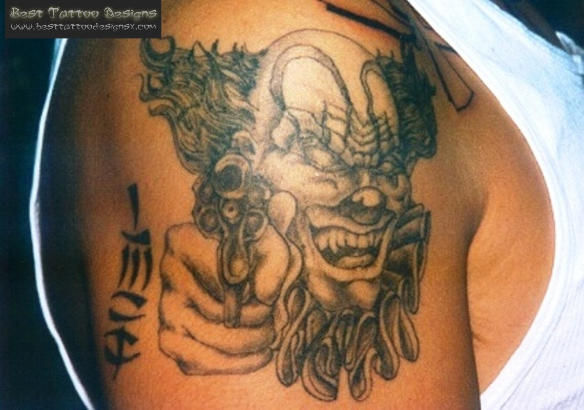 Gangsta Clown Tattoo On Shoulder For Men