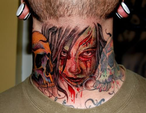 Gangsta Girl Tattoo On Neck