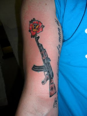 Gangsta Gun Tattoo On Right Arm