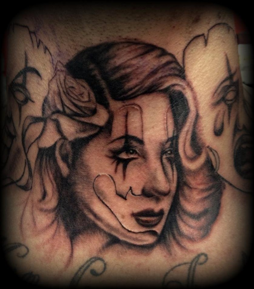 Gangsta Lady Face Tattoo Design