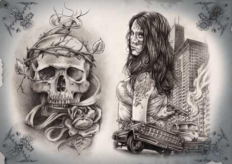 Gangsta Skull n Girl Tattoo Design