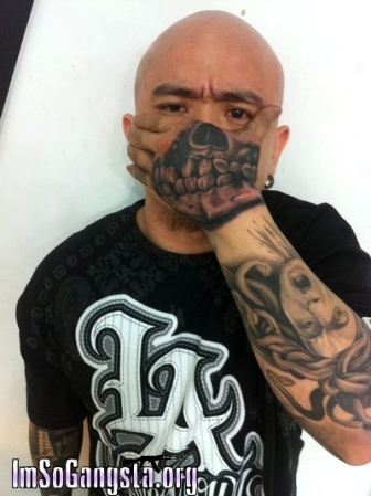 Gangsta Skull Tattoo On Hand For Tough Guys